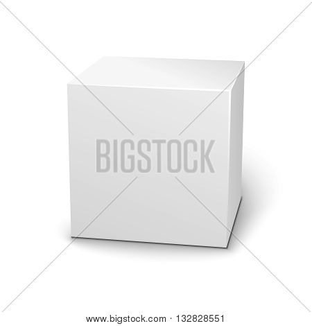 Blank 3D box on white background with shadow.