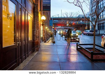 NEW YORK, USA - CIRCA MARCH, 2016: Brooklyn at evening. Brooklyn is the most populous of New York City's five boroughs.