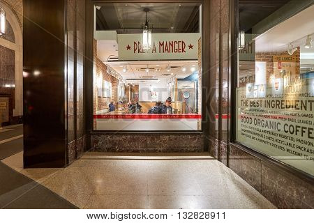NEW YORK - CIRCA MARCH, 2016: view of Pret a Manger. Pret a Manger is a sandwich shop chain based in the United Kingdom