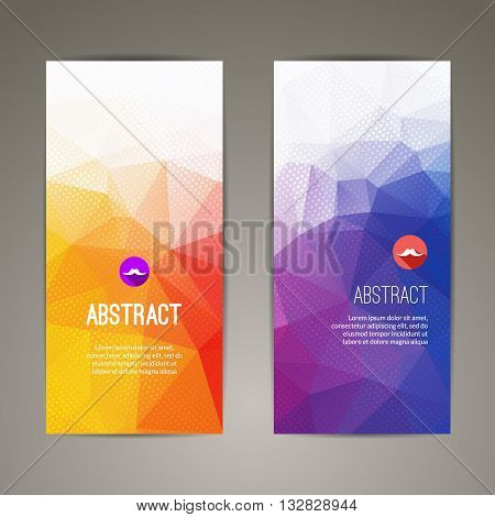 Set of polygonal triangular colorful geometric banners for innovate youth modern design.