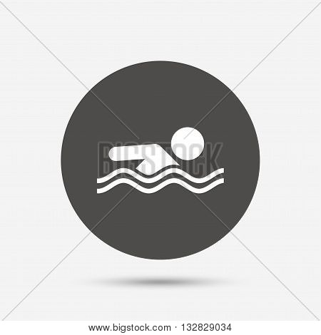 Swimming sign icon. Pool swim symbol. Sea wave. Gray circle button with icon. Vector