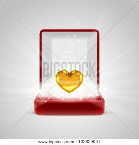 Opened red gift box with gold heart in bright light radiance from inside, with glitters sparkles and beams. Giving love concept