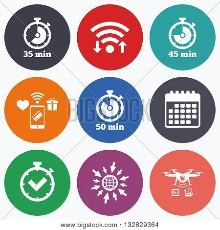 Wifi, mobile payments and drones icons. Timer icons. 35, 45 and 50 minutes stopwatch symbols. Check or Tick mark. Calendar symbol.