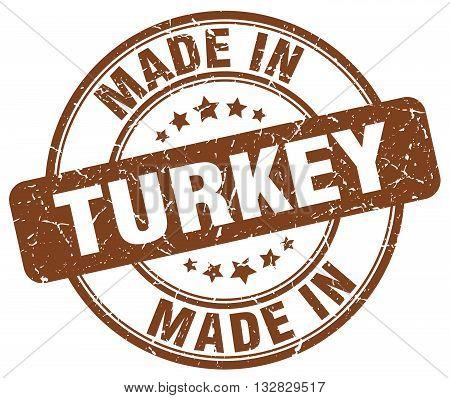 made in Turkey brown round vintage stamp.Turkey stamp.Turkey seal.Turkey tag.Turkey.Turkey sign.Turkey.Turkey label.stamp.made.in.made in.