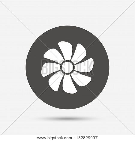 Ventilation sign icon. Ventilator symbol. Gray circle button with icon. Vector