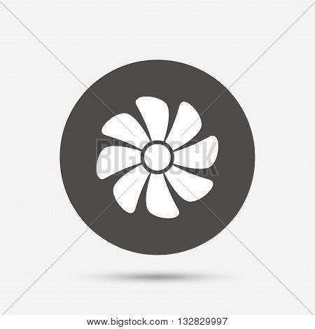 Ventilation sign icon. Ventilator symbol. Gray circle button with icon. Vector
