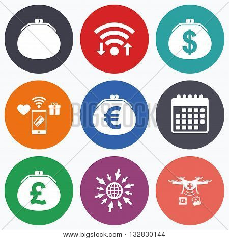 Wifi, mobile payments and drones icons. Wallet with Dollar, Euro and Pounds currency icons. Cash bag signs. Retro wealth symbol. Calendar symbol.