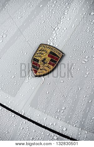 BANGKOK, THAILAND - JUNE 2, 2016 : Droplets on grey Porsche 911 sport classic, there's only one color for this model