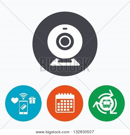 Webcam sign icon. Web video chat symbol. Camera chat. Mobile payments, calendar and wifi icons. Bus shuttle.