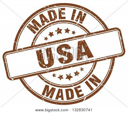 made in usa brown round vintage stamp.usa stamp.usa seal.usa tag.usa.usa sign.usa.usa label.stamp.made.in.made in.