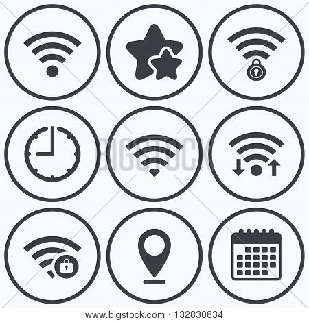 Clock, wifi and stars icons. Wifi Wireless Network icons. Wi-fi zone locked symbols. Password protected Wi-fi sign. Calendar symbol.