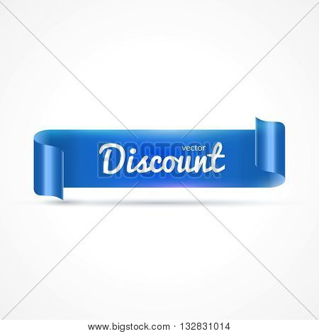 Blue realistic detailed curved paper banner isolated on white background. Vector illustration.