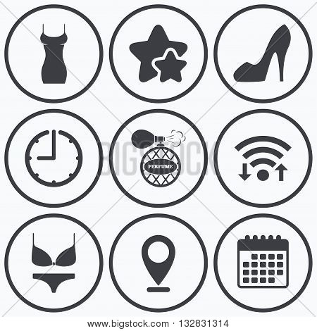 Clock, wifi and stars icons. Women dress icon. Sexy shoe sign. Perfume glamour fragrance symbol. Intimates underwear. Calendar symbol.