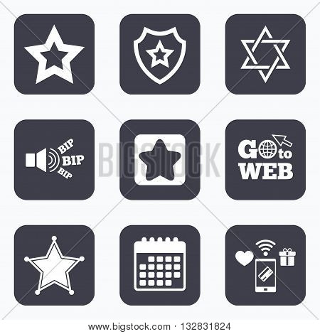 Mobile payments, wifi and calendar icons. Star of David icons. Sheriff police sign. Symbol of Israel. Go to web symbol.
