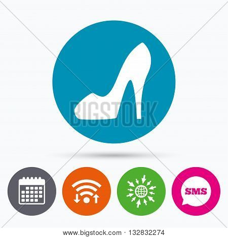 Wifi, Sms and calendar icons. Women sign. Women's shoe icon. High heels shoe symbol. Go to web globe.