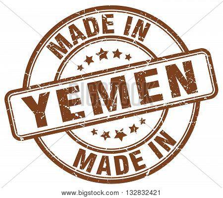 made in Yemen brown round vintage stamp.Yemen stamp.Yemen seal.Yemen tag.Yemen.Yemen sign.Yemen.Yemen label.stamp.made.in.made in.