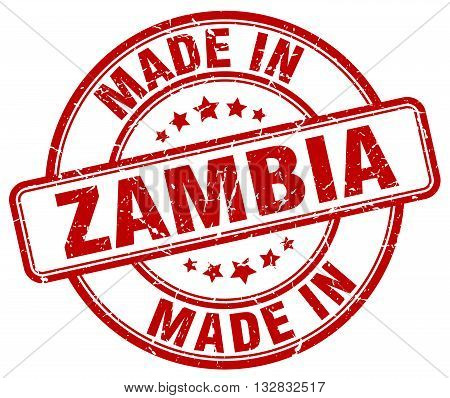 made in Zambia red round vintage stamp.Zambia stamp.Zambia seal.Zambia tag.Zambia.Zambia sign.Zambia.Zambia label.stamp.made.in.made in.