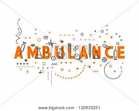 Medicine concept design ambulance. Creative design elements for websites, mobile apps and printed materials. Medicine banner design