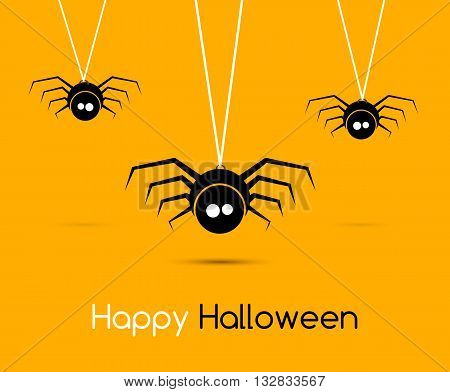 Illustration Cute Funny Spiders and Cobweb for Halloween, Simple style with Shadows - Vector illustration.