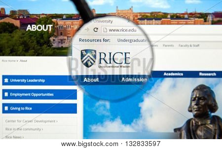 MONTREAL CANADA - JUNE 4 2016 : Rice University page under magnifying glass. Rice University or Rice is a private research university located in Houston Texas United States.