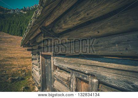 Aged Mountain Cabin. Old Mountain Chalet. Chocholowska Valley Poland Europe.