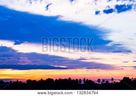 Sunset at temple riverside chao phraya riverPathumthani Thailand