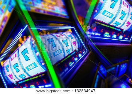 Slot Machine Casino Mania. Vegas Play and Fun Conceptual Photo.