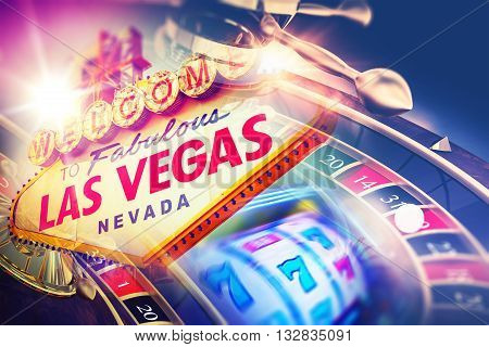 Las Vegas Roulette and Slot Games. Vegas Gambling Concept.