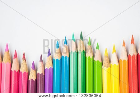 A variety of colours of coloring pencils