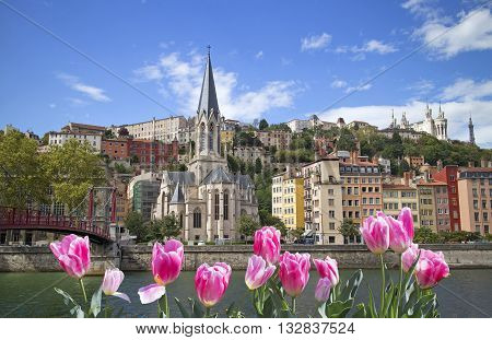 Cityscape of Lyon with pink tulips on front