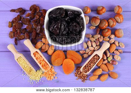 Ingredients containing iron and dietary fiber natural sources of ferrum healthy lifestyle food and nutrition