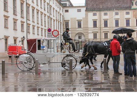 Austria Vienna coach walking horse Hofburg Palace the area November 15 2015