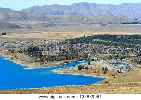 Tekapo town, seen from Mt. John University Observatory.