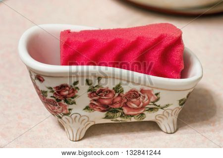 sponge for washing dishes bright color crockery, domestic,