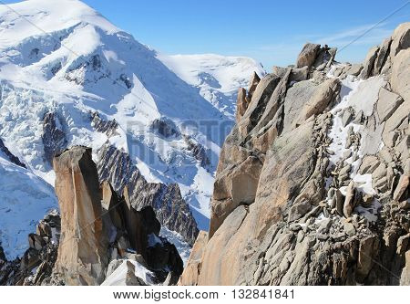 glacier and summit at Mont Blanc massif, France