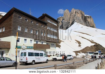DOLOMITES, ITALY - APRIL 7, 2014: Passo Sella on April 7, 2014 in Dolomites, Italy. With an elevation of 2244m, this high alpine mountain road is a landmark scenic route on Dolomites Alps.