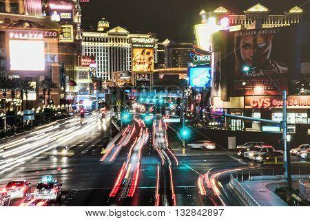 MAY 30, 2016 LAS VEGAS, NV -- Night view of The Strip in Las Vegas with views of casinos and night traffic -- LAS VEGAS, NV MAY 30, 2016