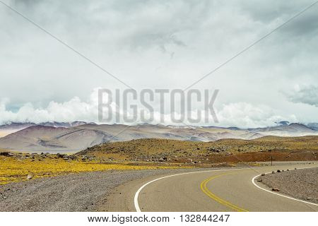 National Route 60, in the Andes (Catamarca, Argentina) with hills in the background