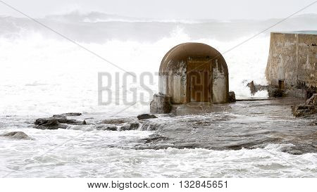 Pump house during a storm, Newcastle beach, Newcastle, NSW, Australia