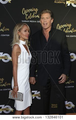 LOS ANGELES - JUN 2:  Hayley Roberts, David Hasselhoff at the Television Academy 70th Anniversary Gala at the Saban Theater on June 2, 2016 in North Hollywood, CA
