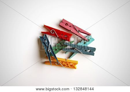 Several brooches colors for clothes on white background