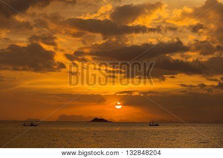 Wonderful sunset over the sea water at island Koh Phangan Thailand