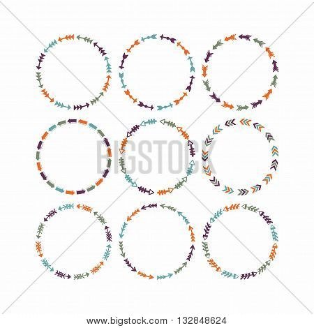 Colorful circle border arrows patterns, design elements for frameworks and banners - Set 1