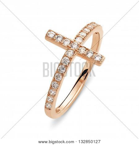 A Single Gold Ring With Diamonds Of The Shape Of A Cross