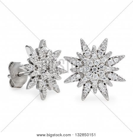 A Pair Silver Stud Earrings With Diamonds In The Form Of Stars