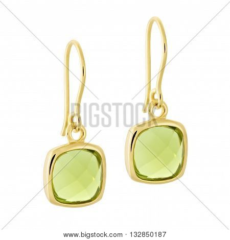 A Pair Of Gold Earrings With A Shiny Gemstone In The Form Of A Square