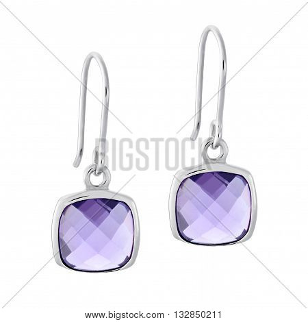 A Pair Of Silver Earrings With A Gemstone In The Form Of A Square