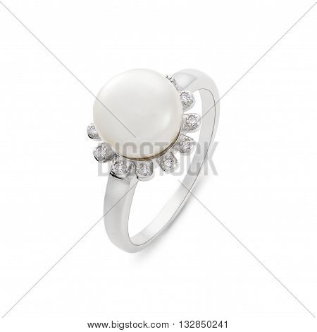 Close-up On Pearl And Diamond Ring