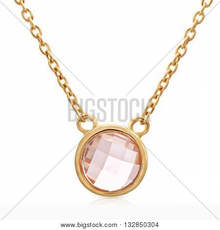 Round-shaped Pendant Made Of Gold With Light Brown Colored Gemstone