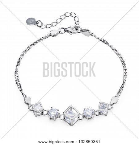 Close-up Of Silver Bracelet With Diamonds